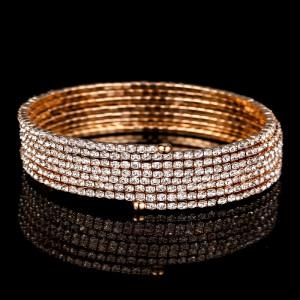 Rose Gold 7 Row Spiral Spring Bracelet