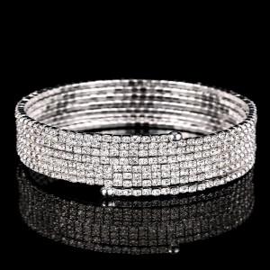 Silver 7 Row Spiral Spring Bracelet