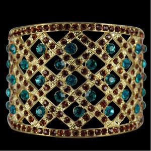 Topaz Sapphire Gold Fashion Bangle