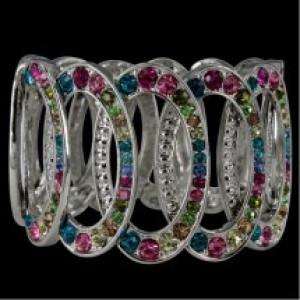 Rainbow Elastic Diamonte Bracelet