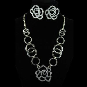 Gold Rosette Necklace & Earrings Set