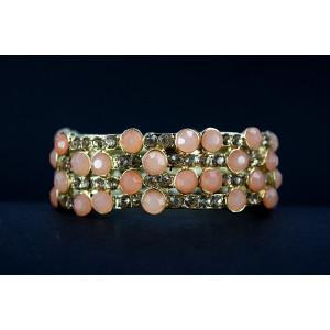Apricot & Gold Stretchy Bracelet