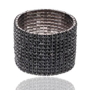 12 Rows Jet Stretchy Crystal Bracelet