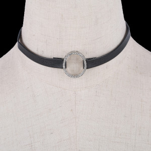 Silver Leather Choker