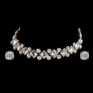 Silver Choker with Earrings Set