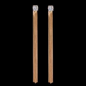 Rose Gold Long Pierced Earrings