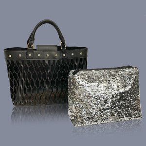 Black Bag-in-Bag Sequin Pouch Tote
