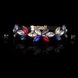 Rainbow Sparkling Choker Earrings Set