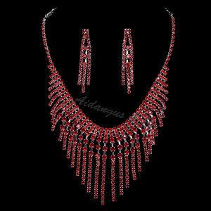 Red Crystal Necklace & Earring Set