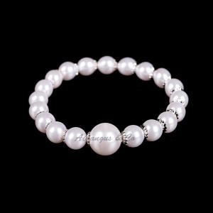 Silver Pearl Stretchy Bracelet