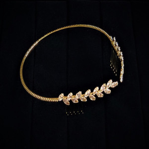 Austrian Crystal Gold Headband with Comb